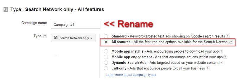 setting up adwords campaign