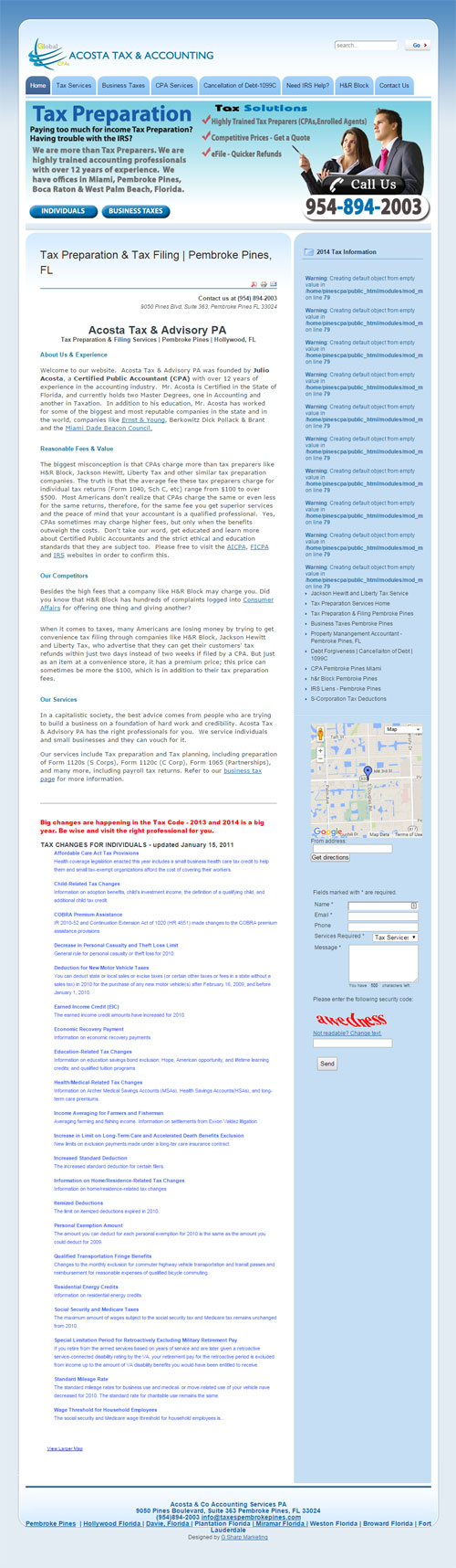 acosta tax and accounting old website