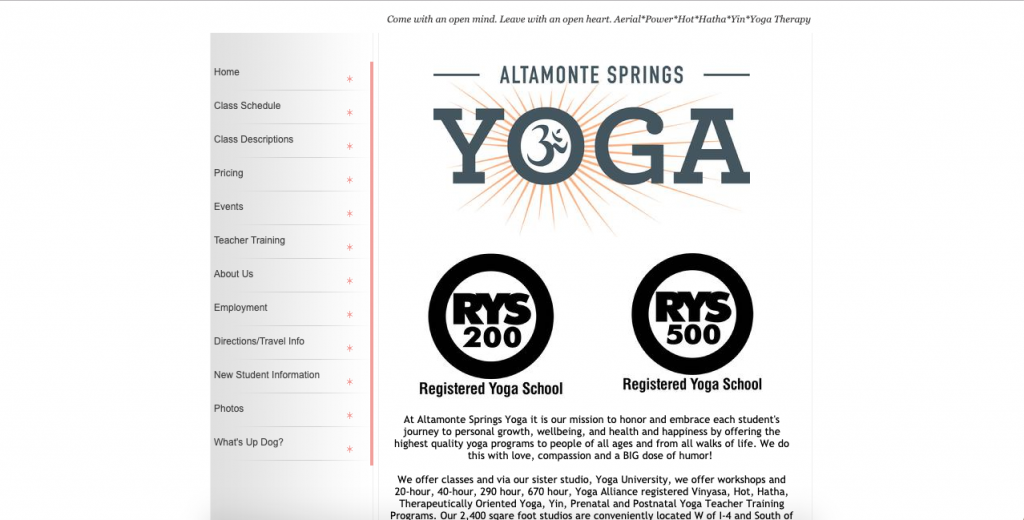 old Altamonte Springs Yoga website