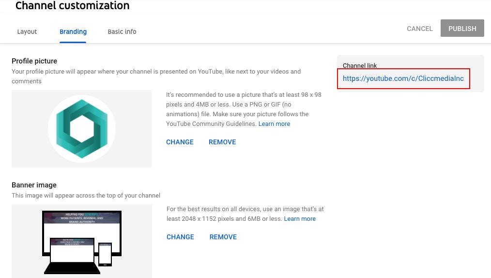youtube branding tab